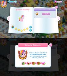 Size: 1280x1440 | Tagged: safe, rainbow harmony, pegasus, pony, bio, cute, female, filly, friendship student, game screencap, gameloft, gem, stars