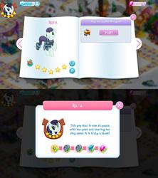Size: 1280x1440 | Tagged: safe, coloratura, earth pony, pony, bio, game screencap, gameloft, gem, rara, stars