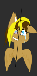 Size: 1080x2220 | Tagged: safe, artist:kinkycocnuts, oc, oc:ellie ravonholm, oc:only, pegasus, pony, crying, evil grin, female, grin, mare, sad, smiling, solo, tears of pain