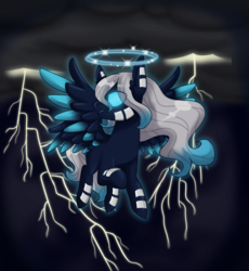 Size: 2300x2500 | Tagged: safe, artist:jagga-chan, oc, pegasus, pony, halo, high res, lightning, male, solo, stallion