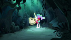 Size: 1920x1080 | Tagged: alicorn, between dark and dawn, clothes, ethereal mane, female, forest, hawaiian shirt, magic, magic aura, mare, pony, ponytail, princess celestia, safe, screencap, shirt, solo, spoiler:s09e13, telekinesis