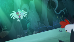 Size: 1920x1080 | Tagged: alicorn, between dark and dawn, bird, chicken, clothes, ethereal mane, female, forest, hawaiian shirt, mare, pony, ponytail, princess celestia, safe, screencap, shirt, spoiler:s09e13, spread wings, tree, wings