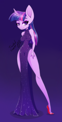 Size: 600x1181 | Tagged: anthro, artist:twistedcarrot, blue background, chibi, disproportional anatomy, female, gradient background, high heels, looking at you, plantigrade anthro, safe, shoes, simple background, twilight sparkle, unicorn, wasp waist
