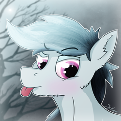 Size: 1200x1200 | Tagged: artist:jesterpi, cute, earth pony, oc, oc only, oc:turned toes, outline, profile picture, safe, simple, smiling, smirk, tongue out, tree, winter