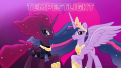 Size: 3840x2160 | Tagged: alicorn, alicornified, armor, artist:ejlightning007arts, eye scar, female, heart, lesbian, princess tempest shadow, princess twilight 2.0, race swap, raised hoof, safe, scar, shipping, spoiler:s09e26, tempest gets her horn back, tempestlight, tempest shadow, the last problem, twilight sparkle, twilight sparkle (alicorn), wallpaper, wavy mane