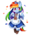 Size: 600x600 | Tagged: safe, artist:ipun, rainbow dash, pegasus, pony, bipedal, blushing, cheek fluff, clothes, cloven hooves, colored hooves, cute, dashabetes, deviantart watermark, dress, ear fluff, female, heart, maid, mare, menu, obtrusive watermark, part of a set, rainbow dash always dresses in style, rainbow maid, simple background, solo, tsunderainbow, tsundere, watermark