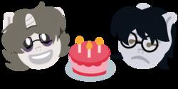 Size: 1000x500 | Tagged: safe, artist:toyminator900, oc, oc only, oc:corvinia, oc:solaria, unicorn, birthday, birthday cake, cake, candle, emoji, food, gift art, glasses, simple background, transparent background