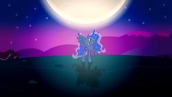 Size: 3840x2160 | Tagged: safe, artist:laszlvfx, artist:quasdar, artist:theponymuseum, princess luna, pony, moon, solo, wallpaper