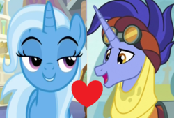 Size: 540x365 | Tagged: a horse shoe-in, female, hoo'far, male, road to friendship, safe, shipping, spoiler:s09e20, straight, trixfar, trixie