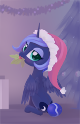 Size: 1073x1652 | Tagged: safe, artist:dusthiel, princess luna, alicorn, pony, bedroom eyes, blushing, christmas, cute, eyeshadow, female, hat, holiday, holly, holly mistaken for mistletoe, looking at you, looking back, looking back at you, looking over shoulder, lunabetes, makeup, mare, mouth hold, rear view, santa hat, sitting, solo, tail bun