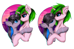 Size: 4500x3000 | Tagged: artist:homecome, citomix, couple, eyes closed, female, hug, kissing, lidded eyes, looking at each other, oc, oc:c1t0-b0r, oc only, oc:vinyl mix, pony, safe, shipping, size difference, smiling, unicorn, vaporwave, ych result