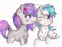 Size: 1840x1416 | Tagged: safe, artist:lightisanasshole, oc, oc only, earth pony, pegasus, pony, :p, best friends, blushing, chest fluff, cute, dock, duo, duo female, earth pony oc, eye contact, female, flower, flower in hair, fluffy, heart, looking at each other, mare, mlem, ocbetes, one eye closed, pegasus oc, pink eyes, profile, purple eyes, purple mane, signature, silly, silly pony, simple background, smiling, striped mane, tongue out, traditional art, white background, wing fluff, wings