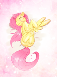 Size: 2627x3563 | Tagged: safe, artist:snownebula, fluttershy, pegasus, pony, abstract background, both cutie marks, cute, dock, eyes closed, featureless crotch, female, frog (hoof), happy, mare, on back, one wing out, shyabetes, smiling, solo, stray strand, underhoof, wings