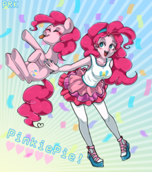 Size: 750x850 | Tagged: artist:puriko-tairaseki, confetti, cute, diapinkes, equestria girls, eyes closed, human, human ponidox, open mouth, pinkie pie, pony, safe, self ponidox, tongue out