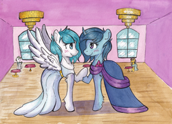 Size: 3316x2384 | Tagged: safe, artist:lightisanasshole, oc, oc:delly, oc:graceful motion, pegasus, pony, unicorn, blue coat, blue mane, blushing, blushing profusely, chandelier, chest fluff, clothes, dancing, dress, duo, duo female, duo focus, female, floor, flower, fluffy, gala dress, holding hands, hoof hold, in love, looking at each other, pegasus oc, room, table, unicorn oc, walls, white coat, white dress, window, wooden floor
