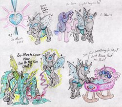 Size: 2787x2446 | Tagged: safe, artist:grimmyweirdy, princess flurry heart, queen chrysalis, starlight glimmer, thorax, alicorn, changedling, changeling, changeling queen, unicorn, to where and back again, belly, big belly, changeling feeding, changeling overfeeding, crib, crystal heart, fat, female, implied transformation, inflation, long tongue, love overload, queen chrysalard, sparkly wings, tongue out, traditional art