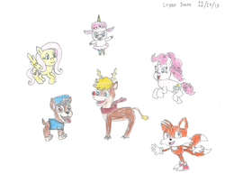 "Size: 1053x814 | Tagged: artist:logan jones, chase (paw patrol), crossover, deer, dog, drawing, earth pony, fluttershy, fox, goodtimes, lamb, miles ""tails"" prower, paw patrol, pegasus, pinkie pie, pony, reindeer, rick and morty, rudolph the red nosed reindeer, safe, sheep, sonic the hedgehog (series), tinkles (rick and morty), traditional art"