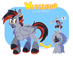 Size: 1200x950 | Tagged: black, fluffy, gray, male, oc, oc:wirebound, pegasus, pony, ponyoc, red, reference, safe