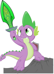 Size: 1964x2676 | Tagged: action pose, artist:clockwork2, artist:dfectivedvice, dragon, male, safe, shield, simple background, solo, spike, sword, transparent background, vector, weapon