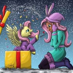 Size: 888x900 | Tagged: safe, alternate version, artist:edhelistar, fluttershy, human, pegasus, pony, best gift ever, equestria girls, equestria girls series, holidays unwrapped, spoiler:eqg series (season 2), absurd resolution, boots, clothes, coat, confetti, duo, earmuffs, female, floating heart, fluttershy's winter hat, fluttersquee, gift box, gloves, gradient background, heart, hearth's warming, human coloration, human ponidox, kanji, leggings, looking at each other, mare, mixed media, moderate dark skin, self paradox, self ponidox, shoes, signature, snow, squee, sweater, sweatershy, tengwar, text, winter outfit