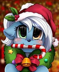 Size: 809x988   Tagged: safe, artist:pridark, oc, oc only, oc:icicle crash, deer, blue coat, blushing, brown eye, candy, candy cane, christmas, christmas wreath, deer oc, food, freckles, green eye, hat, hearth's warming, hearth's warming eve, heterochromia, holiday, ice deer, markings, santa hat, white hair, white markings, wreath