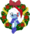 Size: 831x962   Tagged: safe, artist:jhayarr23, oc, oc only, oc:icicle crash, deer, pony, blue coat, blushing, christmas, christmas wreath, clothes, deer oc, freckles, green eye, hat, hearth's warming, hearth's warming eve, holiday, ice deer, jhayarr23's holiday ych, looking at you, markings, movie accurate, one eye closed, pale belly, santa hat, scarf, simple background, sitting, socks, solo, striped socks, transparent background, white hair, white markings, wink, winking at you, wreath, ych result