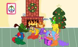 Size: 1024x621 | Tagged: safe, artist:angrybeavers1997, artist:bc-ls, artist:bellbell123, artist:doraeartdreams-aspy, artist:ry-bluepony1, artist:swiftgaiathebrony, oc, oc:aspen, oc:bella pinksavage, oc:ryan, oc:sunrise glisten, oc:swiftgaia, oc:train track, alicorn, alicorn oc, base used, bodysuit, brother and sister, catsuit, christmas, christmas tree, collaboration, cookie, cute, doll, family, female, fireplace, fluttershy doll, food, happy, hippie, holiday, jewelry, latex, latex suit, male, necklace, peace suit, peace symbol, present, rubber suit, siblings, snow globe, toy, tree