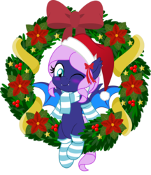 Size: 831x962 | Tagged: safe, artist:jhayarr23, oc, oc only, oc:spiral galaxies, bat pony, pony, bat pony oc, blue eyes, blushing, christmas, christmas wreath, clothes, hat, hearth's warming, hearth's warming eve, holiday, jhayarr23's holiday ych, movie accurate, one eye closed, purple coat, purple hair, santa hat, scarf, simple background, socks, solo, striped socks, transparent background, wink, winking at you, wreath, ych result