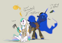 Size: 1700x1200 | Tagged: alicorn, artist:sinrar, clothes, cosplay, costume, crossover, dark souls, dialogue, duo, estus flask, female, princess celestia, princess luna, pyromancer, safe, scared, siblings, simple background, sisters, sorcerer, weapon