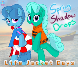 Size: 1920x1650 | Tagged: safe, artist:rainbow eevee, glitter drops, spring rain, pony, unicorn, series:springshadowdrops life jacket days, beach, bipedal, blowing whistle, boat, clothes, female, irl, lesbian, lifeguard, lifeguard spring rain, lifejacket, looking at you, missing cutie mark, mouth hold, ocean, open mouth, photo, poster, shipping, solo, spring rain's lifeguard whistle, springdrops, standing, standing on one leg, water, whistle