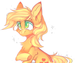 Size: 3678x3084 | Tagged: safe, artist:lazuli0209, applejack, earth pony, pony, cheek fluff, chest fluff, colored hooves, colored pupils, commission, cute, ear fluff, eyebrows visible through hair, female, hatless, heart eyes, jackabetes, leg fluff, mare, missing accessory, simple background, solo, transparent background, wingding eyes, ych result