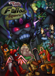 Size: 2820x3849 | Tagged: safe, artist:cazra, oc, oc:cookie cake, oc:crimson sigil, oc:geare bochs, oc:grey wind, oc:snowbound, oc:spectrum square, oc:spyglass, bat pony, earth pony, pony, unicorn, fallout equestria, tails of equestria, battle saddle, cape, chainsaw, clothes, coat, doctor who, fight, giant robot, grenade, grenade launcher, gun, hand, holographic horn, holographic wings, knife, laser, magic, magic item, mech, ninja, pipbuck, rifle, roleplaying, sniper rifle, snow, snowflake, sonic screwdriver, spritebot, tabletop game, the iron prince, weapon