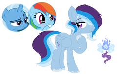 Size: 628x380 | Tagged: artist:hello-rando, crack shipping, female, hair over one eye, lesbian, magical lesbian spawn, mare, oc, oc:wind o' wisp, offspring, parent:rainbow dash, parents:trixdash, parent:trixie, pegasus, rainbow dash, safe, shipping, simple background, trixdash, trixie, unshorn fetlocks, white background