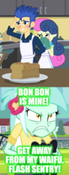 Size: 460x1167 | Tagged: all's fair in love and friendship games, bon bon, edit, edited screencap, equestria girls, female, flash sentry, friendship games, jealous, lesbian, lyrabon, lyra heartstrings, meme, safe, screencap, shipping, sweetie drops