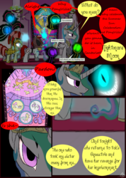 Size: 985x1385 | Tagged: safe, artist:didun850, discord, princess celestia, oc, oc:chase, oc:mad dog, alicorn, draconequus, pony, unicorn, comic:ask chase the pony, armor, ask, comic, dialogue, female, glowing eyes, glowing horn, grin, helmet, horn, magic, male, mare, marionette, peytral, royal guard, shadow pony, smiling, stained glass, stallion, telekinesis, tumblr