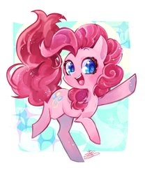 Size: 853x1024 | Tagged: safe, artist:sibashen, pinkie pie, earth pony, pony, colored pupils, cute, diapinkes, female, looking at you, mare, open mouth, smiling, solo, underhoof