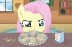 Size: 4000x2640 | Tagged: safe, artist:flutterstormreturns, fluttershy, pony, discordant harmony, cucumber sandwiches, cute, discord lamp, evil smirk, female, food, high res, looking at something, mare, pure unfiltered evil, sandwich, scene interpretation, shyabetes, smiling, solo, speedpaint