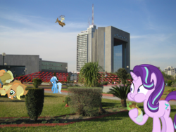 Size: 2272x1704 | Tagged: safe, artist:max rider, applejack, derpy hooves, starlight glimmer, trixie, pegasus, pony, unicorn, building, cider, female, irl, mare, mexico, monterrey, photo, ponies in real life