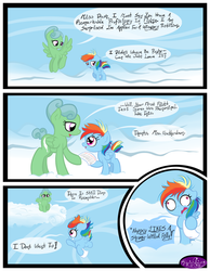 Size: 3500x4500 | Tagged: artist:becauseimpink, cloud, comic, comic:transition, derp, dialogue, female, filly, filly rainbow dash, flying, looking back, mare, oc, oc:featherdown, on a cloud, pegasus, pony, rainbow dash, safe, transgender, younger