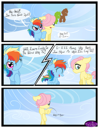 Size: 3500x4500 | Tagged: artist:becauseimpink, butterscotch, colt, comic, comic:transition, dialogue, eyes closed, female, filly, filly fluttershy, filly rainbow dash, fluttershy, male, oc, one eye closed, pegasus, pony, rainbow dash, raised hoof, rule 63, safe, smiling, transgender, wink, younger