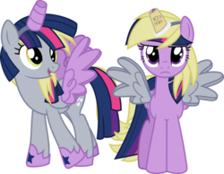 Size: 775x600 | Tagged: safe, artist:geometrymathalgebra, derpy hooves, twilight sparkle, alicorn, pegasus, pony, scare master, alicorn costume, clothes, cosplay, costume, costume swap, cute, derpabetes, fake horn, fake wings, female, four winged, mare, nightmare night costume, not a horn, simple background, toilet paper roll, toilet paper roll horn, transparent background, twiabetes, twilight is not amused, twilight muffins, twilight sparkle (alicorn), unamused, wig