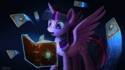Size: 4500x2532 | Tagged: safe, artist:robsa990, twilight sparkle, alicorn, pony, book, card game, cutie mark, female, hearthstone, mare, open mouth, solo, twilight sparkle (alicorn), warcraft