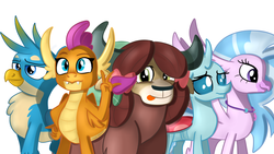 Size: 1600x900 | Tagged: artist:jbond, changeling, classical hippogriff, dragon, gallus, griffon, hippogriff, ocellus, peace sign, safe, silverstream, simple background, smolder, student six, white background, yak, yona