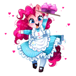 Size: 800x800 | Tagged: safe, artist:ipun, pinkie pie, earth pony, semi-anthro, cheek fluff, clothes, cloven hooves, colored hooves, cupcake, cute, deviantart watermark, diapinkes, dress, ear fluff, female, food, heart, looking at you, maid, mare, obtrusive watermark, open mouth, shoes, simple background, socks, solo, tongue out, transparent background, watermark
