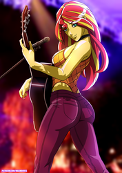 Size: 2894x4093 | Tagged: safe, artist:rambon7, sunset shimmer, equestria girls, equestria girls series, let it rain, spoiler:eqg series (season 2), acoustic guitar, ass, bedroom eyes, bunset shimmer, butt, clothes, digital art, female, guitar, high res, leotard, looking at you, looking back, looking back at you, looking over shoulder, microphone, musical instrument, scenery, sexy, smiling, solo, thong leotard
