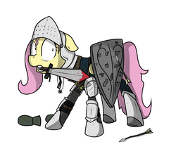 Size: 1800x1600 | Tagged: armor, artist:kippzu, blood, fluttershy, pegasus, pony, safe, scared, shield, simple background, solo, sword, weapon, white background