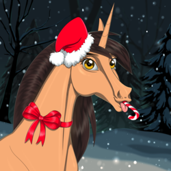 Size: 3000x3000 | Tagged: artist:f0rever13, bow, bust, candy, christmas, commission, digital art, female, food, hat, hoers, holiday, horse, looking at you, mare, oc, oc:amiona, pony, portrait, ribbon, safe, santa hat, solo, tongue out, unicorn, ych result