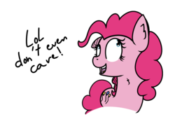 Size: 1500x1000 | Tagged: artist:kippzu, doodle, lol, open mouth, pinkie pie, pony, reaction image, safe, simple background, solo, transparent background