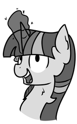 Size: 1000x1600 | Tagged: artist:kippzu, black and white, drawthread, grayscale, monochrome, pony, reaction image, safe, solo, twilight sparkle