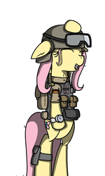 Size: 600x1000 | Tagged: artist:kippzu, fluttershy, german, military, pegasus, safe, solo, your mom gay